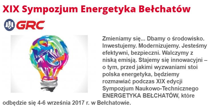 GRC Partnerem XIX Sympozjum Energetyka Bełchatów 2017 i na targach  Energetab 2017