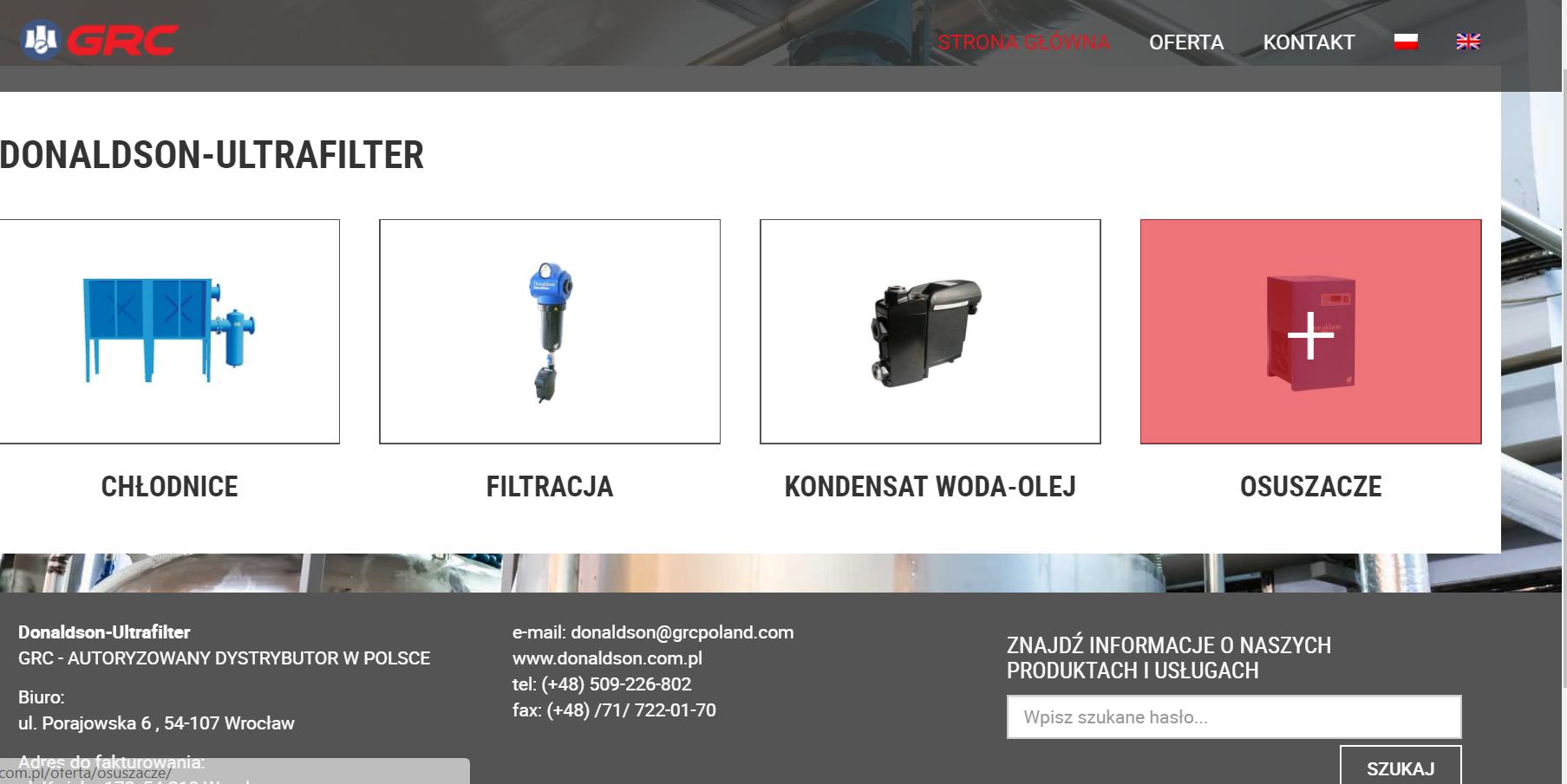 Strona www.donaldson.com.pl   w nowej odsłonie